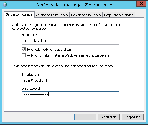 zimbra outlook connector instellingen