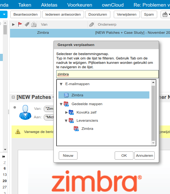 zimbra archiveer in een map
