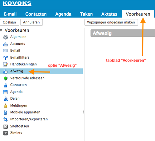 Setting up an 'Out of Office' notification in Zimbra - Zimbra
